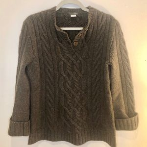 J. Crew Cable Knit Taupe Brown Lambswool Sweater M